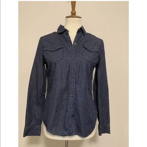 Gap 1969 Chambray Polka Dot Button Down Size XS